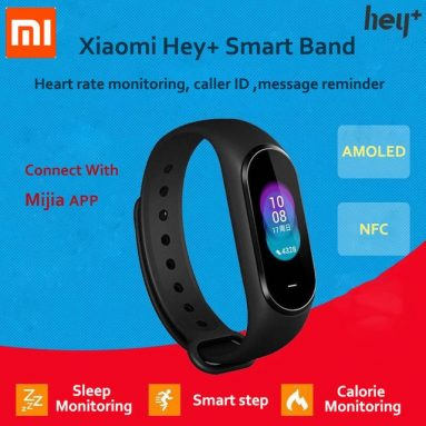 €43 with coupon for Original XIAOMI Hey+ B1800 0.95″ AMOLED Color Screen NFC 5ATM Waterproof Smart Bracelet Heart Rate Blood Pressure Monitor Smart Watch from BANGGOOD