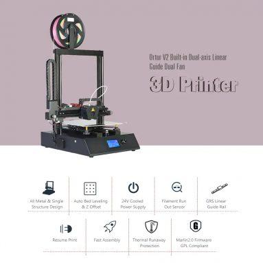 439 avec coupon pour Ortur Ortur 4 V2 GRS Imprimante 3D Open Source grande capacité pour guide linéaire haute vitesse - Noir EU Plug / V2 de GEARBEST