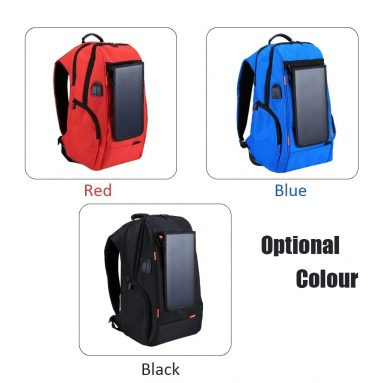 $34 with coupon for Outdoor Charging Backpack + USB Port with Solar Panel from TOMTOP