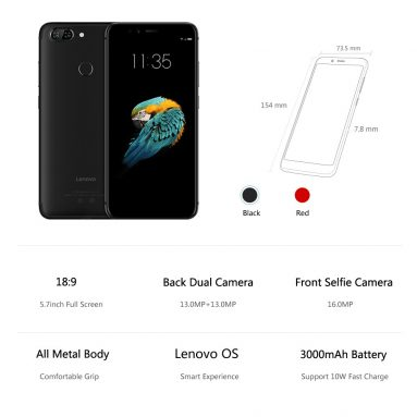 46% OFF Lenovo S5 K520 4G Smartphone 3+32G,limited offer $143.99 from TOMTOP Technology Co., Ltd