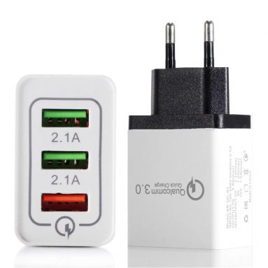 $2 with coupon for Portable Travel Home Universal 3-Port USB Wall Charger from TOMTOP
