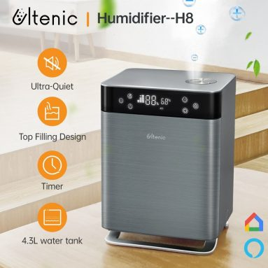 € 82 dengan kupon untuk Proscenic Ultenic H8 Smart Humidifier 3 Mode Kapasitas 4.3L Tangki Air Maksimum 350ml / jam Keluaran Kabut, Remote Control, APP atau Alexa dan Google Home Voice Control