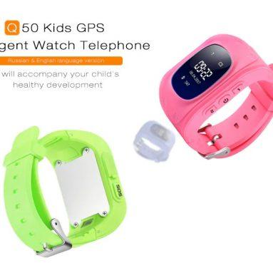 $ 15 Q50 Çocuk için kuponlu OLED Ekranlı GPS Akıllı Seyretmek Telefon - PEMBE İNGİLİZCE SÜRÜM
