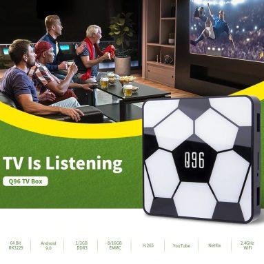 € 17 với phiếu giảm giá cho Q96 Smart TV Box Android 9.0 - RAM 1GB trắng + ROM 8GB US Cắm từ GEARBEST