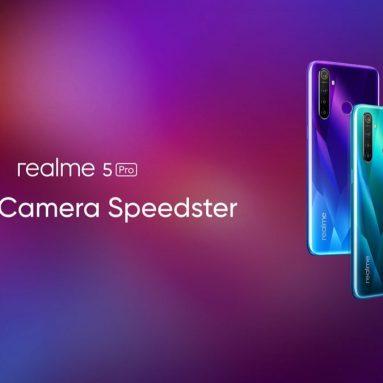 € 176 con coupon per Realme 5 Pro Versione UE 6.3 pollici FHD + 4035mAh Android P 48MP AI Quad Camera 4GB RAM 128GB ROM Snapdragon 712 Octa Core 2.3GHz 4G Smartphone - Crystal Green di BANGGOOD
