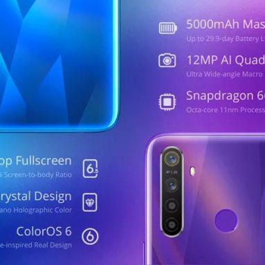 € Realme R154 Küresel Sürüm için kupon ile 5 6.5 Inç HD + Android 9.0 5000mAh 12MP AI Dört Kameralar 4GB RAM 128GB ROM Snapdragon 655 Sekiz Çekirdekli 2.0GHz 4G Akıllı Telefon - BANGGOOD'dan Kristal Mavi