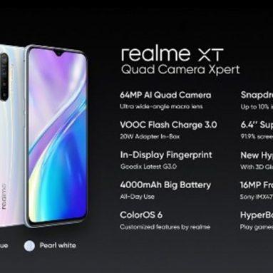 244 € с купоном на Realme XT 6.4-дюймовый FHD + отпечаток пальца на дисплее 4000 мАч 64-мегапиксельная AI четырехъядерная камера 8 ГБ ОЗУ 128 ГБ ROM Snapdragon 712 AIE Octa Core 2.3 ГГц 4G смартфон - Pearl White от BANGGOOD
