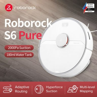 € 335 dengan kupon untuk Roborock S6 Pure Robot Vacuum Cleaner 2000Pa Suction Smart LDS SLAM Navigation Works with Google Pet Hairs Carpet Dust Robotic Collector - Putih dari gudang EU CZ BANGGOOD