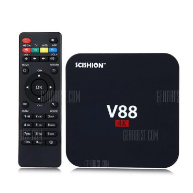 $22 with coupon for SCISHION V88 TV Box Player Rockchip 3229 Quad Core  –  EU PLUG  BLACK from Gearbest