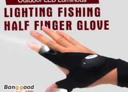 Pre Order for Multifunctional EDC Fishing Fingerless Glove LED Repair Flashlight Survival Outdoor Rescue Tool from HongKong BangGood network Ltd.