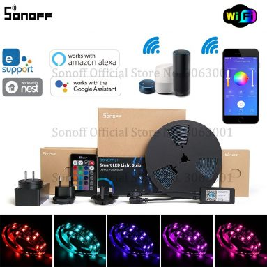SONOFF L17 디밍 가능 IP1 65M 2M 스마트 WiFi RGB LED 스트립 조명 키트 쿠폰이 포함 된 € 5 Amazon Alexa와 함께 작동 Google Home – BANGGOOD의 5M
