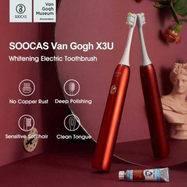 € 51 con coupon per SOOCAS x Van Gogh X3U Spazzolino elettrico ad ultrasuoni sonico USB ricaricabile IPX7 Spazzolino da denti per sbiancamento impermeabile per adulto da Xiaomi Youpin - Rosso da BANGGOOD