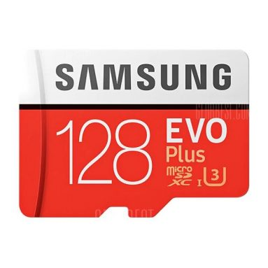 $18 with coupon for Samsung UHS-3 Class10 Micro SDXC Memory Card  –  128G RED from GearBest