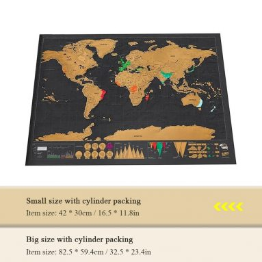 $2 with coupon for Scratch World Map Travel Edition Original 42 x 30cm from TOMTOP