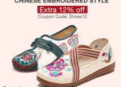 12% OFF for Chinese Embroidered Shoes from BANGGOOD TECHNOLOGY CO., LIMITED