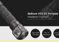 $44 with coupon for Skilhunt H03 RC Portable LED Headlamp Flashlight – COOL WHITE from GearBest