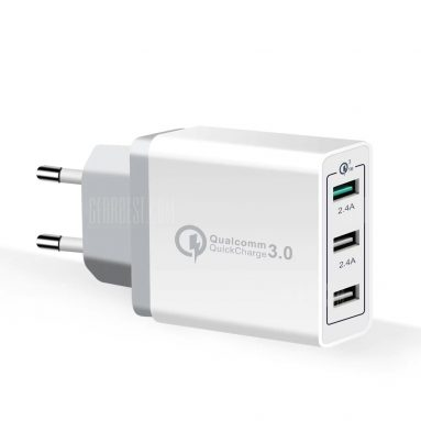 $5 with coupon for Spedcrd 3 Ports Quick Charger QC 3.0 30W USB Fast Charger – White EU Plug from GearBest