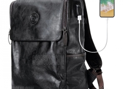 $33 with coupon for Stylish PU Leather Backpack for Men with USB Interface  –  BLACK from GearBest