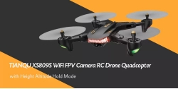 $63 with coupon for TIANQU VISUO XS809S WiFi FPV Camera RC Drone Quadcopter – BLACK 720P+WIDE ANGLE + THREE BATTERIES from GearBest