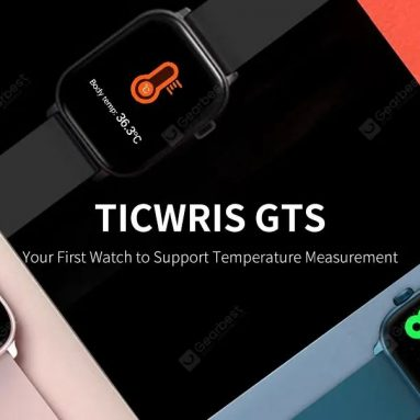 €18 with coupon for TICWRIS GTS Real-time Body Temperature Detect Smart Watch Heart Rate Monitor 7 Sports Modes Sports Smartwatch with Bluetooth 4.0 – Black from GEARBEST