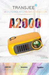 € TRANSJEE A33 Projektörü için kuponlu 2000 800 Lümen 1000: 1 Kontrast Oranı 320 * 240P Yerel Çözünürlük Destekli 1080P 23 Diller