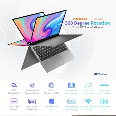 €278 with coupon for Teclast F6 Plus Laptop 13.3 inch 360-Degree Touchable Screen Intel Gemini Lake N4100 Intel UHD Graphics 600 8GB RAM LPDDR4 256GB SSD 10000mAh Type-C Fast Charging Full Metal Case Notebook from BANGGOOD
