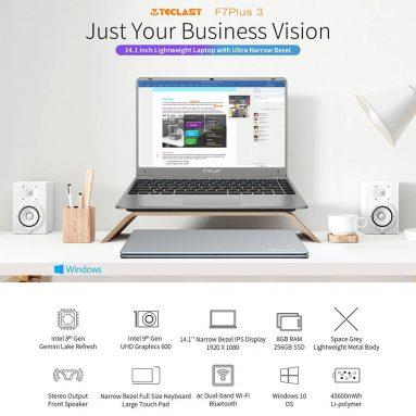 306 אירו עם קופון ל [גרסה חדשה] Teclast F7 Plus Ⅲ מחשב נייד 14.1 אינץ 'Intel N4120 Quad-Core 2.6 GHz 8GB LPDDR4 RAM 256GB SSD 46W סוללה גדולה מארזי מתכת מלאה מחברת מחסן CZ האיחוד האירופי BANGGOOD