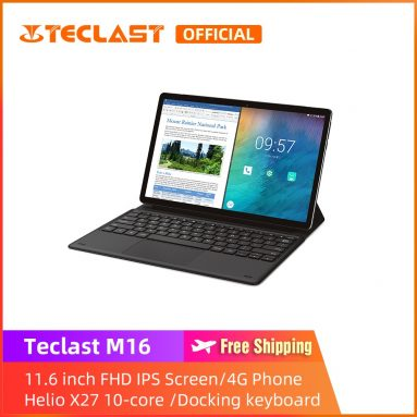 €155 with coupon for Teclast M16 Helio X27 Deca Core Processor 4GB RAM 128GB ROM 11.6 Inch Android 8.0 Tablet PC with Keyboard from BANGGOOD