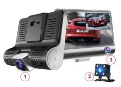 € 33 với phiếu giảm giá cho ống kính máy ảnh Tecney 3 Ống kính kép 4.0 inch với camera chiếu hậu Máy quay video xe DVR Dash Cam từ GEARBEST