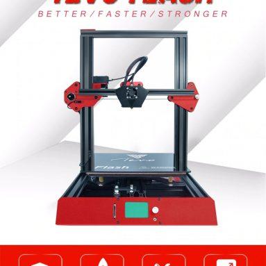 $ 399 với phiếu giảm giá cho Tevo Flash Standard Bộ dụng cụ DIY 98% Prebuild 3D Máy in - BLACK 220V HOTBED / EU CẮM / VỚI TMC 2100 + DUAL Z AXIS + BL TOUCH từ GearBest