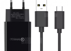 $4 with coupon for Travel Charger Kit Power Adapter Type-C USB Data Cable  –  EU PLUG  BLACK from Gearbest
