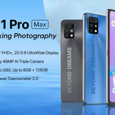 €143 with coupon for UMIDIGI A11 Pro Max Global Version Android 11 Helio G80 5150mAh 8GB 128GB 48MP AI Triple Camera 6.8″ FHD+ 4G Smartphone from BANGGOOD