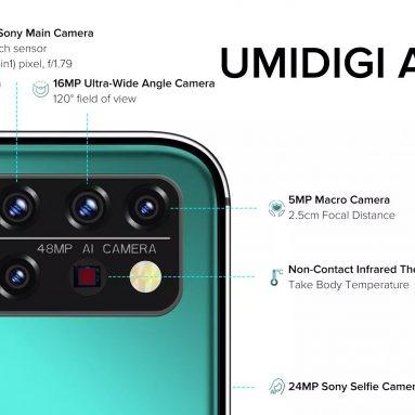 € 118 com cupom para UMIDIGI A9 Pro Global Bands 6.3 polegadas FHD + Termômetro infravermelho 6GB 128GB Helio P60 Android 10 4150mAh 48MP AI Matrix Quad Câmera 3 slots para cartão Smartphone 4G da BANGGOOD
