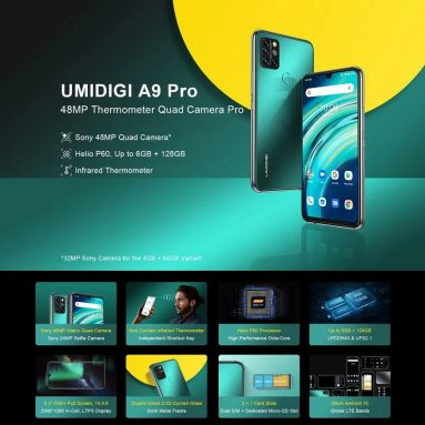 € 91 dengan kupon untuk UMIDIGI A9 Pro Global Bands 6.3 inch FHD + Infrared Thermometer 4GB 64GB Helio P60 Android 10 4150mAh 32MP AI Matrix Quad Camera 3 Slot Kartu Smartphone 4G dari BANGGOOD
