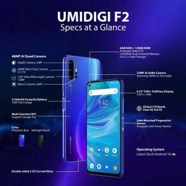 € 151 avec coupon pour UMIDIGI Bandes mondiales F2 6.53 pouces FHD + Android 10 NFC 5150mAh Appareils photo arrière 48MP Quad 6GB 128GB Helio P70 Smartphone Octa Core 4G - Midnight Black, version UE à partir de BANGGOD
