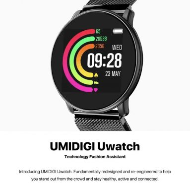 $24 with coupon for UMIDIGI Uwatch Smart Color Bracelet Smartwatch – BLACK STEEL BAND from GearBest