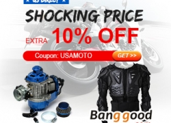Extra 10% OFF for Collection of Motorcycle USA Warehouse from HongKong BangGood network Ltd.