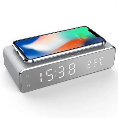 € 9 na may kupon para sa USB Digital LED Desk Alarm Clock Sa Thermometer Wireless Charger Para sa Samsung Xiaomi Huawei mula sa BANGGOOD