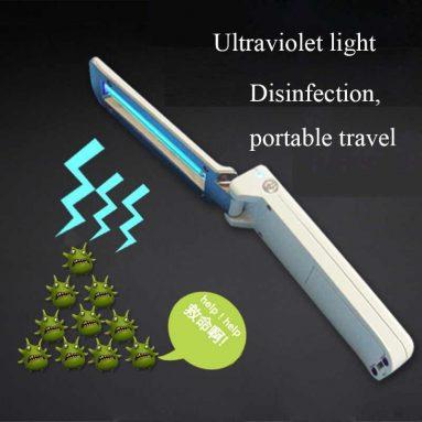 BANGGOOD에서 UVC 휴대용 접이식 USB 소독 살균 손전등 자외선 램프 홈 여행 소독 램프 쿠폰 17 €