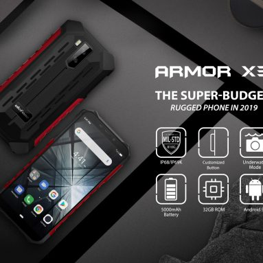 €75 with coupon for Ulefone ARMOR X3 IP68 IP69K Waterproof 5.5 inch 5000mAh 2GB 32GB MT6580 Quad core 3G Smartphone – Grey EU Version from BANGGOOD