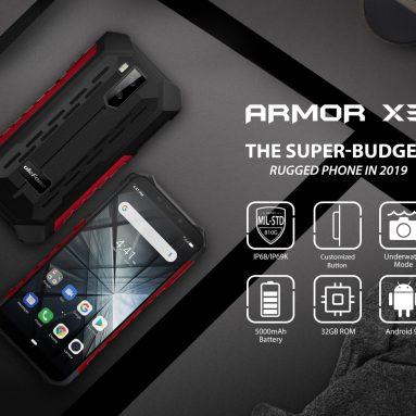€ 71 với phiếu giảm giá cho Ulefone ARMOR X3 IP68 IP69K Không thấm nước 5.5 inch 5000mAh 2GB 32GB MT6580 Quad core 3G - Phiên bản EU màu xám từ BANGGOOD