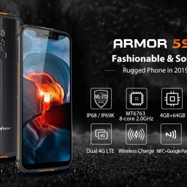 € 127 med kupon til Ulefone Armor 5S IP68 IP69K Vandtæt 5.85 inch 4GB 64GB NFC 5000mAh Trådløs opladning MT6763 Octa Core 4G Smartphone - Sort EU-version fra BANGGOOD