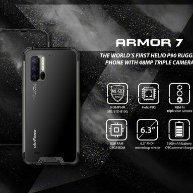 $ 359 met coupon voor Ulefone Armor 7 4G Phablet 6.3 inch Android 9.0 Helio P90 Octa Core 8GB RAM 128GB ROM 3 Achteruitrijcamera 5500mAh Batterij Wereldwijde versie - Zwart EU van GEARBEST