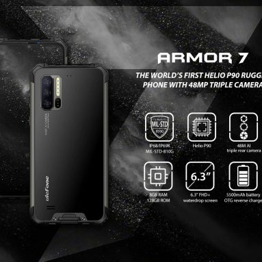$ 355 med kupon til Ulefone Armor 7 4G Phablet 6.3 tommer Android 9.0 Helio P90 Octa Core 8GB RAM 128GB ROM 3 Bagkamera 5500mAh Batteri Global version - Sort EU fra GEARBEST