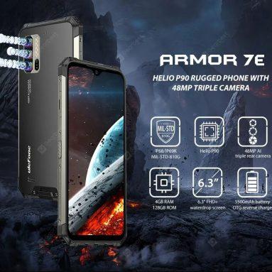 € 184 dengan kupon untuk Ulefone Armor 7E IP68 IP69K Tahan Air 6.3 inci 4GB 128GB 48MP Tiga Kamera NFC 5500mAh Helio P90 Octa Core 4G Smartphone - Hitam Versi Uni Eropa dari BANGGOOD
