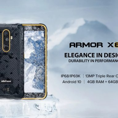 €85 with coupon for Ulefone Armor X8 IP68 IP69K Waterproof 5.7 inch 4GB 64GB 13MP Triple Rear Camera NFC 5080mAh MT6762 Octa Core 4G Rugged Smartphone from BANGGOOD
