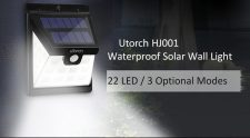 $8 with coupon for Utorch HJ001 Solar Wall Light from GEARBEST