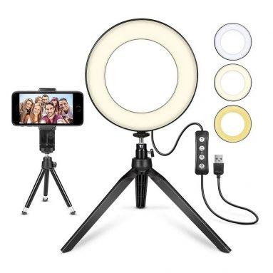 휴대폰 홀더가 장착 된 비디오 셀프 타이머 라이브 스포트라이트 용 쿠폰 포함 € 17 3 라이트 모드 USB 5V – 검은 색 GEARBEST에서 6.3 인치