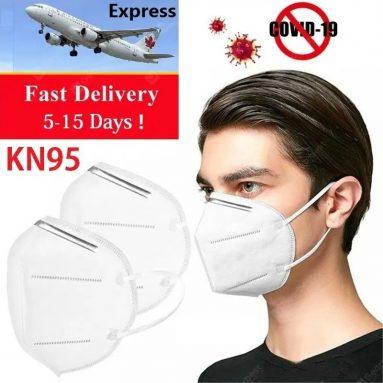 € 35 med kupon til pakke med 20 KN95 FFP2 Øre-ansigtsmaske 4 lag Masker 95% Filtreringseffekt Engangsånding Åndbar fra TOMTOP