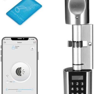 WE.LOCK SOHO için kuponlu 73 € Akıllı Elektronik Kapı Kilidi Silindir Şifresi + RFID Kartı + Bluetooth Kontrolü IP44 Akıllı Telefon ile Su Geçirmez Açma, WiFi Kutusu Alexa ile Çalışma, EU PL'den 3-55mm Kalınlığa Sahip Kapılar için 105 Dakika DIY Hızlı Kolay Montaj depo GEEKBUYING